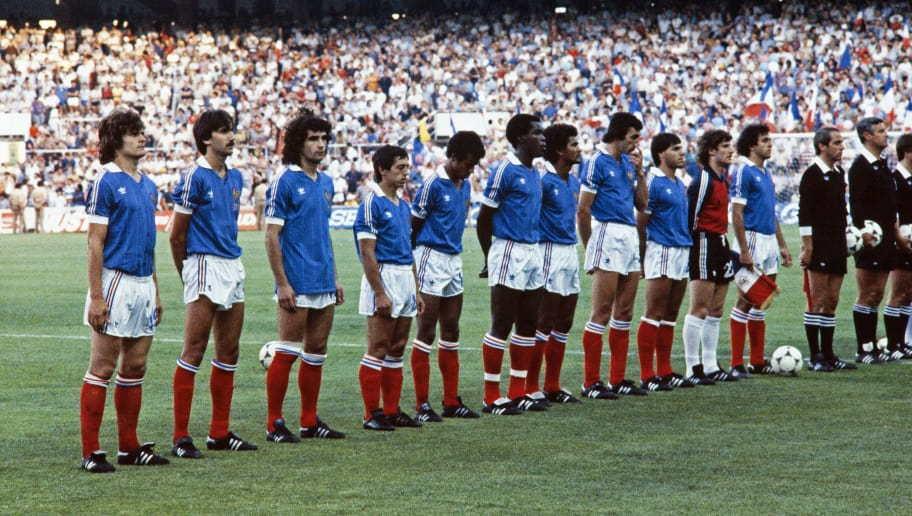 The French team pose before the 1982 World Cup semifinal football match between West Germany and France on July 8, 1982 in Seville. Midfielder Bernard Genghini (2-l), forward Dominique Rocheteau ( 3-l), midfielder Alain Giresse (4-l), defender Marius Tresor (6-l), defender Gerard Janvion (7-l), midfielder Michel Platini (3-r).  AFP PHOTO        (Photo credit should read -/AFP/Getty Images)