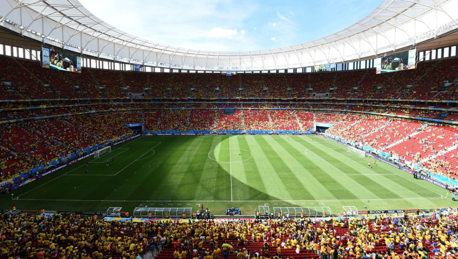 View of the stadium before a Group C football match between Colombia and Ivory Coast at the Mane Garrincha National Stadium in Brasilia during the 2014 FIFA World Cup on June 19, 2014.    AFP PHOTO / EVARISTO SA        (Photo credit should read EVARISTO SA/AFP/Getty Images)
