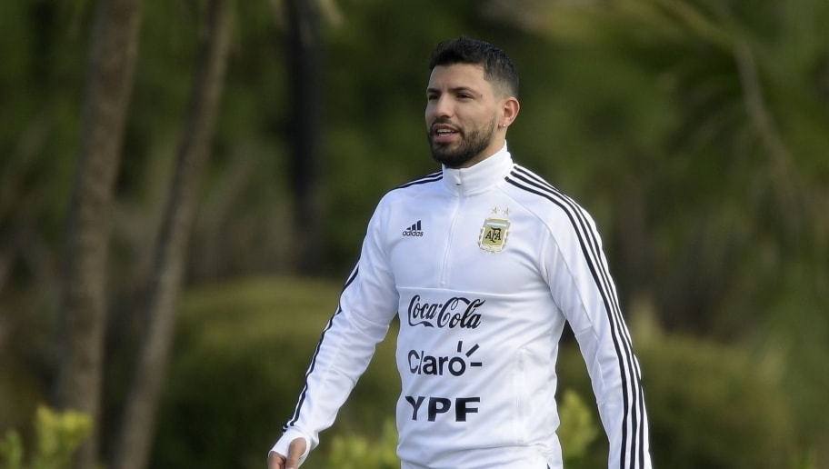 Argentina's football team forward Sergio Aguero gestures during a training session in Ezeiza, Buenos Aires on May 21, 2018. - The Argentinian team is training ahead of a friendly match against Haiti to be held on May 29 at 'La Bombonera' stadium in Buenos Aires, before departing to Barcelona, to prepare for the upcoming FIFA World Cup 2018 in Russia. (Photo by JUAN MABROMATA / AFP)        (Photo credit should read JUAN MABROMATA/AFP/Getty Images)