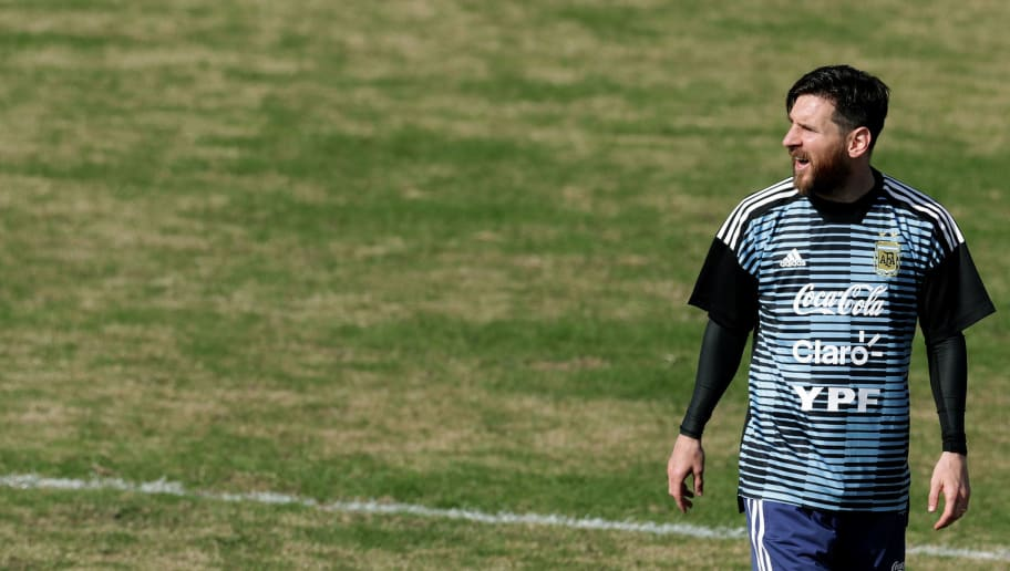 Argentina's national football team forward Lionel Messi takes part in a training session at the Tomas Duco stadium in Buenos Aires on May 27, 2018 ahead of the FIFA World Cup. (Photo by Alejandro PAGNI / AFP)        (Photo credit should read ALEJANDRO PAGNI/AFP/Getty Images)