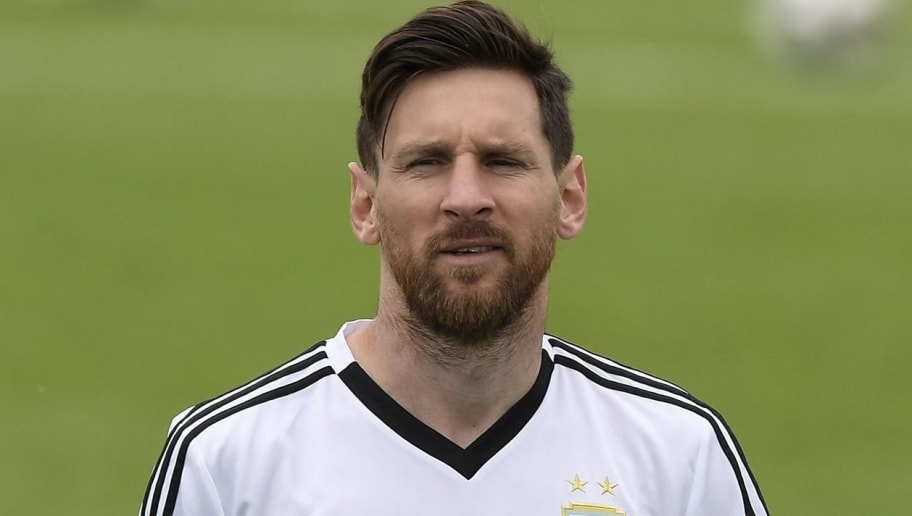 Argentina's forward Lionel Messi takes part in a training session at the team's base camp in Bronnitsy, on June 13, 2018 ahead of the Russia 2018 World Cup football tournament. (Photo by JUAN MABROMATA / AFP)        (Photo credit should read JUAN MABROMATA/AFP/Getty Images)