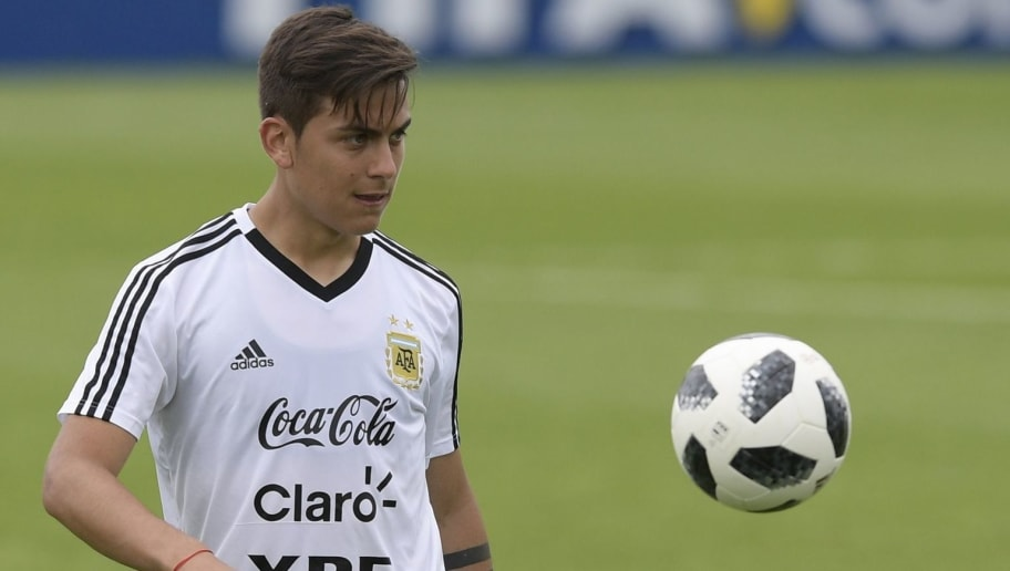 Argentina's forward Paulo Dybala takes part in a training session at the team's base camp in Bronnitsy, on June 13, 2018 ahead of the Russia 2018 World Cup football tournament. (Photo by JUAN MABROMATA / AFP)        (Photo credit should read JUAN MABROMATA/AFP/Getty Images)