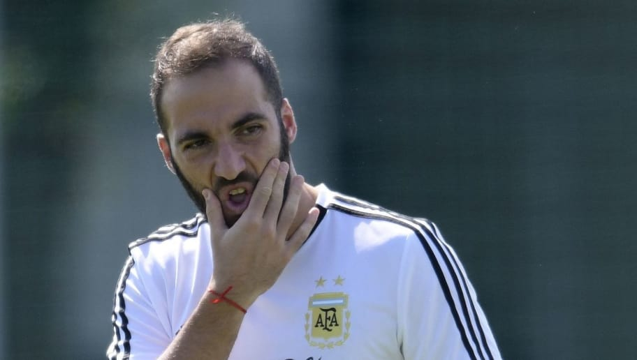 Argentina's forward Gonzalo Higuain takes part in a training session at the team's base camp in Bronnitsy, on June 29, 2018 on the eve of the team's round of sixteen football match as part of the Russia 2018 World Cup. (Photo by JUAN MABROMATA / AFP)        (Photo credit should read JUAN MABROMATA/AFP/Getty Images)