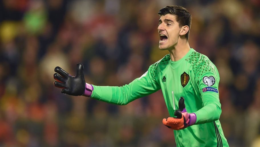 Belgium's Goalkeeper Thibaut Courtois reacts during the the WC 2018 football qualification match between Belgium and Bosnia and Herzegovina, at the King Baudouin Stadium, on October, 2016 in Brussels.  / AFP / JOHN THYS        (Photo credit should read JOHN THYS/AFP/Getty Images)