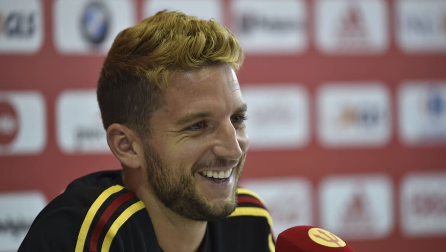Belgium's forward Dries Mertens attends a press conference before a training session at the Guchkovo Stadium in Dedovsk, outside Moscow, on June 30, 2018, during the Russia 2018 World Cup football tournament. (Photo by YURI CORTEZ / AFP)        (Photo credit should read YURI CORTEZ/AFP/Getty Images)