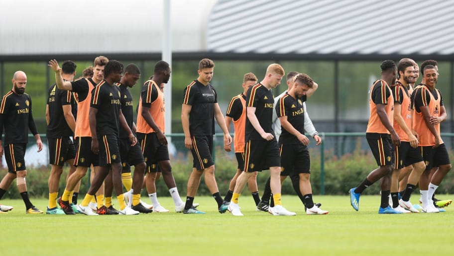 Players of the Belgian national football team Red Devils attend a training session in Tubize, Belgium, on May 31, 2018, ahead of the FIFA World Cup 2018 in Russia. (Photo by BRUNO FAHY / Belga / AFP) / Belgium OUT        (Photo credit should read BRUNO FAHY/AFP/Getty Images)