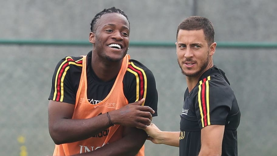 Belgium's Michy Batshuayi and Belgium's captain Eden Hazard, members of the Belgium national soccer team the Red Devils, take part in a training session on May 29, 2018, in Tubize as they start to prepare for the upcoming FIFA World Cup 2018 in Russia. (Photo by BRUNO FAHY / various sources / AFP) / Belgium OUT        (Photo credit should read BRUNO FAHY/AFP/Getty Images)