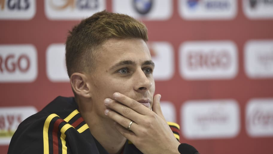 Belgium's forward Thorgan Hazard attends a press conference at the Dedovsk stadium in Moscow on June 14, 2018 during the Russia 2018 World Cup football tournament. (Photo by YURI CORTEZ / AFP)        (Photo credit should read YURI CORTEZ/AFP/Getty Images)