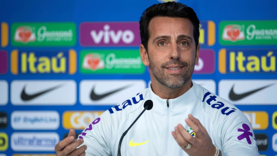 Brazil's national football team manager Edu Gaspar gestures, during a press conference on the first training day of the Brazilian football team ahead of the FIFA's World Cup Russia 2018, at Granja Comary training center in Teresopolis, Rio de Janeiro, Brazil, on May 21, 2018. (Photo by MAURO PIMENTEL / AFP)        (Photo credit should read MAURO PIMENTEL/AFP/Getty Images)