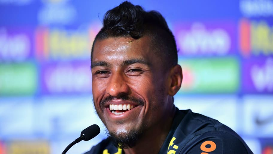 Brazil's midfielder Paulinho attends a press conference at the Yug Sports Stadium in Sochi on June 13, 2018, ahead of the Russia 2018 World Cup football tournament. (Photo by Nelson ALMEIDA / AFP)        (Photo credit should read NELSON ALMEIDA/AFP/Getty Images)