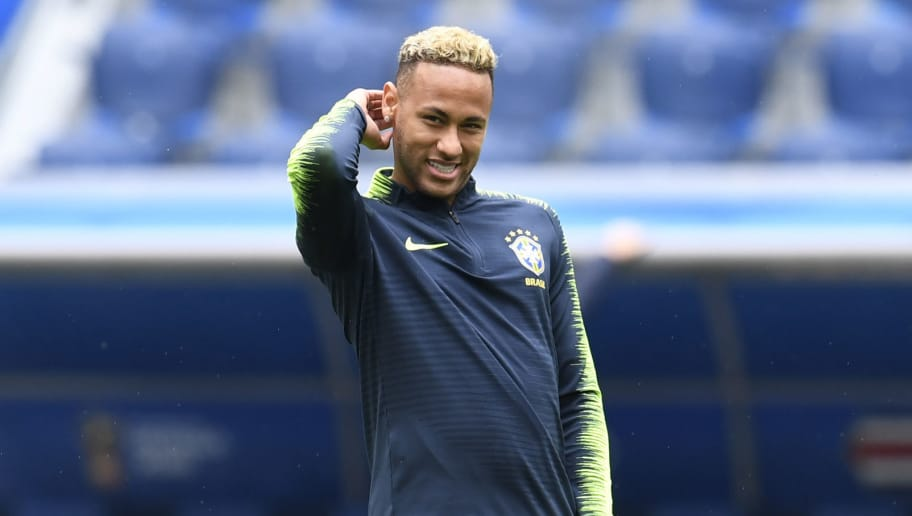 Brazil's forward Neymar attends a training session at the Saint Petersburg stadium in Saint Petersburg on June 21, 2018, on the eve of their Russia 2018 World Cup Group E football match against Costa Rica. (Photo by CHRISTOPHE SIMON / AFP)        (Photo credit should read CHRISTOPHE SIMON/AFP/Getty Images)