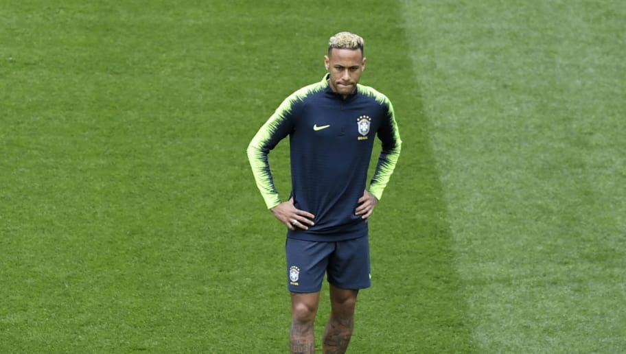 Brazil's forward Neymar attends a training session at the Saint Petersburg Stadium in Saint Petersburg on June 21, 2018 on the eve of the Russia 2018 World Cup Group E football match between Brazil and Costa Rica. (Photo by GABRIEL BOUYS / AFP)        (Photo credit should read GABRIEL BOUYS/AFP/Getty Images)