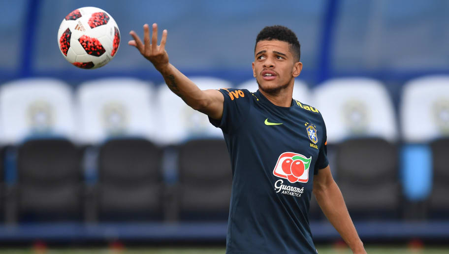 Brazil's forward Taison takes part in a training session at the Yug Sport Stadium in Sochi, on July 3, 2018, ahead of the Russia 2018 World Cup quarter-final football match between Brazil and Belgium on July 6. (Photo by NELSON ALMEIDA / AFP)        (Photo credit should read NELSON ALMEIDA/AFP/Getty Images)