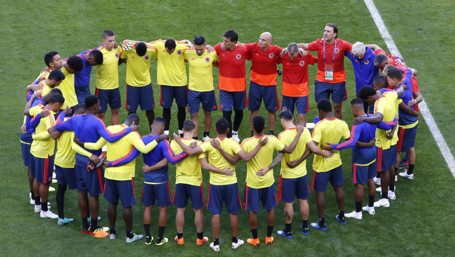 Colombia's players gather during a training session on June 18, 2018 at the Mordovia Arena in Saransk during the Russia 2018 World Cup football tournament. (Photo by Jack GUEZ / AFP)        (Photo credit should read JACK GUEZ/AFP/Getty Images)