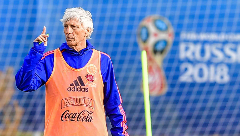 Colombia's coach Jose Pekerman takes part in a training session in Kazan, on June 21, 2018, during the Russia 2018 World Cup football tournament. (Photo by LUIS ACOSTA / AFP)        (Photo credit should read LUIS ACOSTA/AFP/Getty Images)