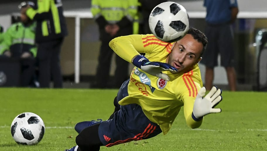 Colombian national football team goalkeeper David Ospina stops a ball during the farewell exhibition game ahead of the upcoming FIFA World Cup Russia 2018 tournament, at the Campin stadium in Bogota, on May 25, 2018. (Photo by Luis ACOSTA / AFP)        (Photo credit should read LUIS ACOSTA/AFP/Getty Images)