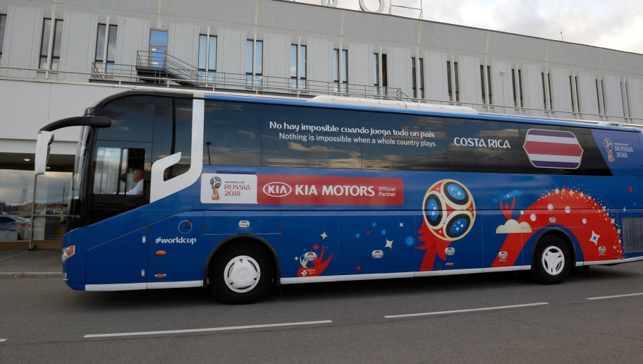 A picture shows the bus of Costa Rica's players upon the team's arrival at Pulkovo airport in Saint Petersburg on June 12, 2018, ahead of the Russia 2018 World Cup football tournament. (Photo by OLGA MALTSEVA / AFP)        (Photo credit should read OLGA MALTSEVA/AFP/Getty Images)