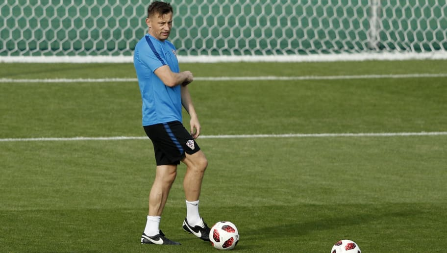 Croatia's assistant coach Ivica Olic attends a training session at the Luzhniki Stadium training field in Moscow on July 14, 2018 on the eve of the Russia 2018 World Cup final football match between France and Croatia. (Photo by Adrian DENNIS / AFP)        (Photo credit should read ADRIAN DENNIS/AFP/Getty Images)