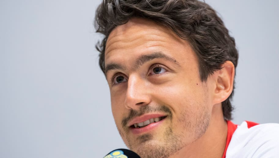 Denmark's forward Thomas Delaney speaks during a press conference on the eve of the international friendly football match between Sweden and Denmark on June 1, 2018 in Solna in preparation for the 2018 Football World Cup in Russia. (Photo by Jonathan NACKSTRAND / AFP)        (Photo credit should read JONATHAN NACKSTRAND/AFP/Getty Images)