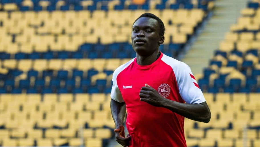 Denmark's forward Pione Sisto warms up during a training session on the eve of the international friendly football match between Sweden and Denmark on June 1, 2018 in Solna in preparation for the 2018 Football World Cup in Russia. (Photo by Jonathan NACKSTRAND / AFP)        (Photo credit should read JONATHAN NACKSTRAND/AFP/Getty Images)
