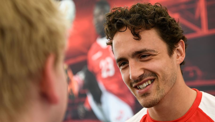 Denmark's midfielder Thomas Delaney speaks to members of the media ahead of a training session in Vityazevo on June 18, 2018, during the Russia 2018 World Cup football tournament. (Photo by Jonathan NACKSTRAND / AFP)        (Photo credit should read JONATHAN NACKSTRAND/AFP/Getty Images)