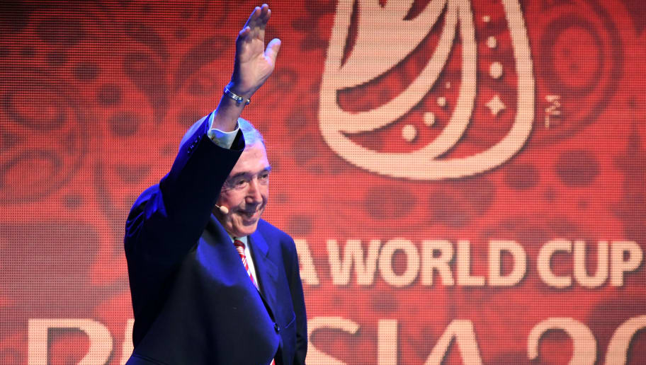 England's former goalkeeper Gordon Banks arrives on stage for the 2018 FIFA World Cup football tournament final draw at the State Kremlin Palace in Moscow on December 1, 2017. The 2018 FIFA World Cup will be held between June 14 and July 15, 2018 in 11 Russian cities. / AFP PHOTO / Yuri KADOBNOV        (Photo credit should read YURI KADOBNOV/AFP/Getty Images)