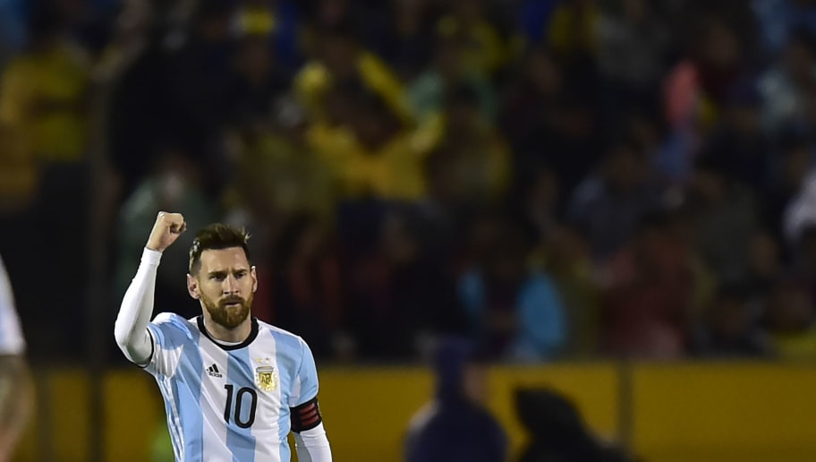 957831ae9 Argentina s Lionel Messi celebrates after scoring against Ecuador during  their 2018 World Cup qualifier football match