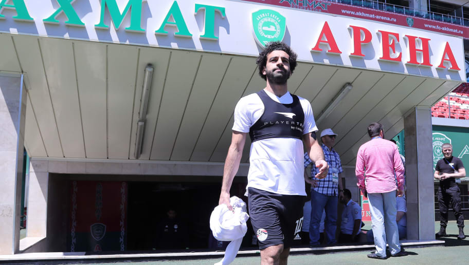 Egypt's forward Mohamed Salah arrives to take part in a training at the Akhmat Arena stadium in Grozny on June 13, 2018, ahead of the Russia 2018 World Cup football tournament. (Photo by KARIM JAAFAR / AFP)        (Photo credit should read KARIM JAAFAR/AFP/Getty Images)