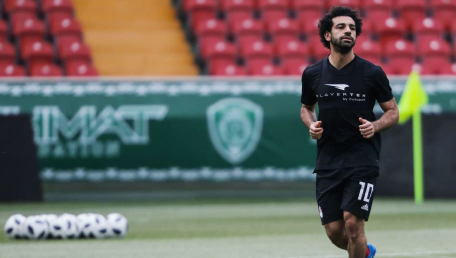 Egypt's forward Mohamed Salah takes part in a training session of Egypt's national football team at the Akhmat Arena stadium in Grozny on June 11, 2018, ahead of the Russia 2018 World Cup. (Photo by KARIM JAAFAR / AFP)        (Photo credit should read KARIM JAAFAR/AFP/Getty Images)