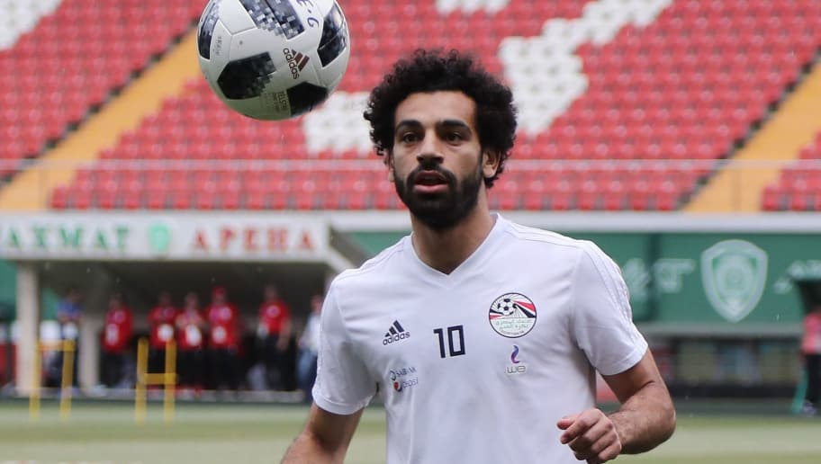 Egypt's forward Mohamed Salah attends a training session during the Russia 2018 World Cup football tournament at the Akhmat Arena stadium in Grozny on June 16, 2018. (Photo by KARIM JAAFAR / AFP)        (Photo credit should read KARIM JAAFAR/AFP/Getty Images)
