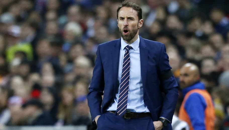 England's manager Gareth Southgate gestures on the touchline during the International friendly football match between England and Italy at Wembley stadium in London on March 27, 2018. / AFP PHOTO / Ian KINGTON        (Photo credit should read IAN KINGTON/AFP/Getty Images)