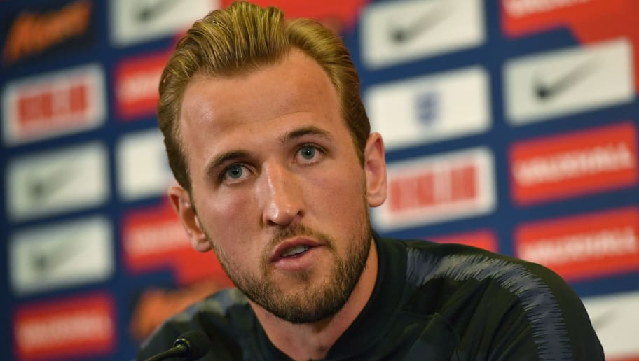England's striker Harry Kane speaks during a press conference following an England training session at St George's Park in Burton-on-Trent on May 22, 2018, ahead of their international friendly football matches against Nigeria and Costa Rica. (Photo by Anthony Devlin / AFP) / NOT FOR MARKETING OR ADVERTISING USE / RESTRICTED TO EDITORIAL USE        (Photo credit should read ANTHONY DEVLIN/AFP/Getty Images)