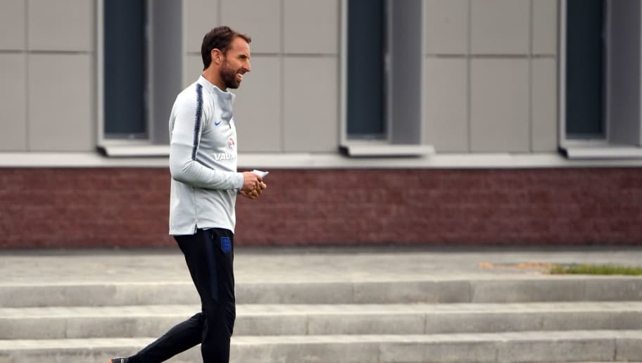 England's coach Gareth Southgate takes part in a training session in Repino on June 21, 2018 during the Russia 2018 World Cup football tournament. (Photo by Paul ELLIS / AFP)        (Photo credit should read PAUL ELLIS/AFP/Getty Images)