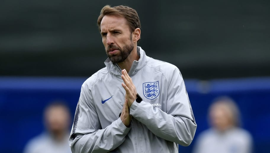 England's coach Gareth Southgate leads a training session at Spartak Zelenogorsk Stadium in Saint Petersburg on June 30, 2018, during the Russia 2018 World Cup football tournament. (Photo by GABRIEL BOUYS / AFP)        (Photo credit should read GABRIEL BOUYS/AFP/Getty Images)