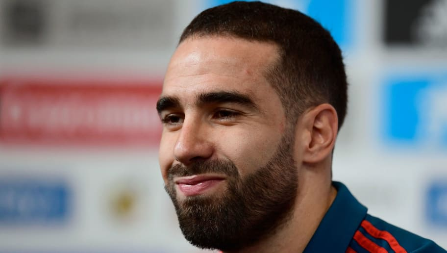 Spain's defender Dani Carvajal attends a press conference at Krasnodar Academy on June 28, 2018, during the Russia 2018 World Cup football tournament. (Photo by PIERRE-PHILIPPE MARCOU / AFP)        (Photo credit should read PIERRE-PHILIPPE MARCOU/AFP/Getty Images)