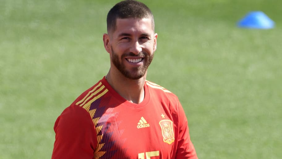 Spain's defender Sergio Ramos smiles during a training session at Las Rozas de Madrid sports city on June 5, 2018. (Photo by JAVIER SORIANO / AFP)        (Photo credit should read JAVIER SORIANO/AFP/Getty Images)