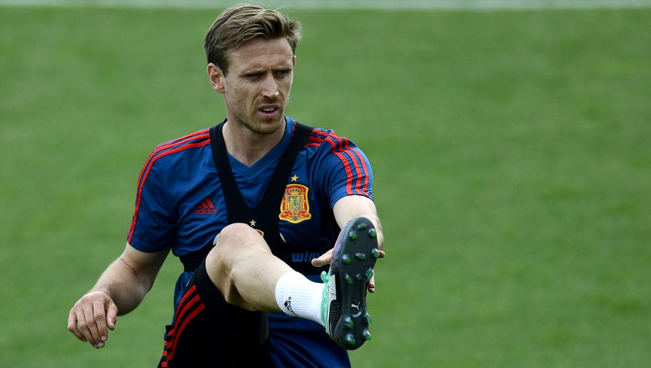 Spain's Ignacio Monreal attend a training session of Spain's football national team at the Spanish Football Federation's 'Ciudad del Futbol' in Las Rozas, near Madrid on May 29, 2018. (Photo by PIERRE-PHILIPPE MARCOU / AFP)        (Photo credit should read PIERRE-PHILIPPE MARCOU/AFP/Getty Images)