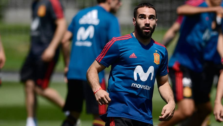 Spain's defender Dani Carvajal takes part in a training session at Krasnodar Academy on June 12, 2018, ahead of the Russia 2018 World Cup football tournament. (Photo by Pierre-Philippe MARCOU / AFP)        (Photo credit should read PIERRE-PHILIPPE MARCOU/AFP/Getty Images)