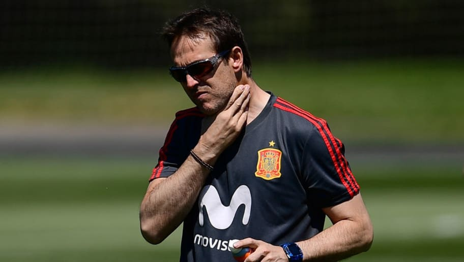 Spain's coach Julen Lopetegui attends a training session at Krasnodar Academy on June 12, 2018, ahead of the Russia 2018 World Cup football tournament. (Photo by Pierre-Philippe MARCOU / AFP)        (Photo credit should read PIERRE-PHILIPPE MARCOU/AFP/Getty Images)
