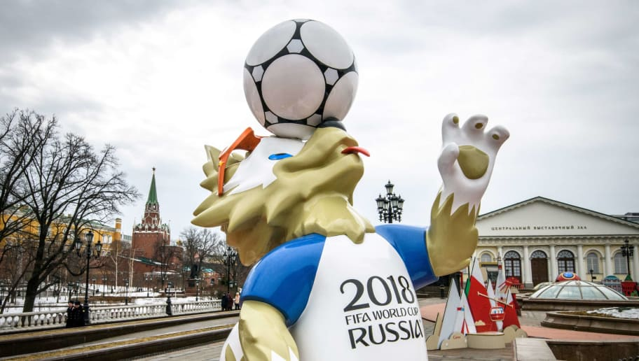 A photo taken on April 2, 2018 shows Zabivaka, the official FIFA World Cup 2018 mascot on Manezhnaya square in downtown Moscow. (Photo by Mladen ANTONOV / AFP)        (Photo credit should read MLADEN ANTONOV/AFP/Getty Images)