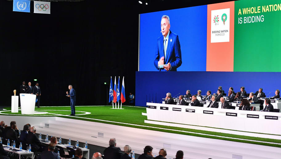 Moulay Hafid Elalamy, chairman of the Moroccan Committee bidding for the 2026 World Cup, presents the bid during the 68th FIFA Congress at the Expocentre in Moscow on June 13, 2018. (Photo by Mladen ANTONOV / AFP)        (Photo credit should read MLADEN ANTONOV/AFP/Getty Images)