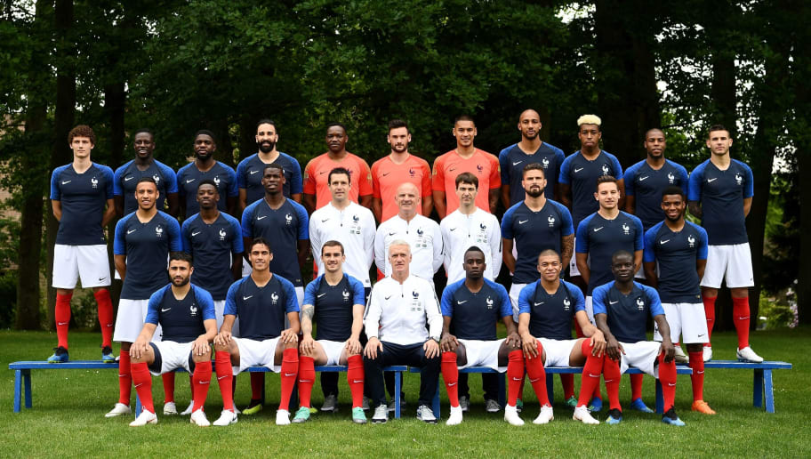 France's national football team (3rd row, from L): France's defender Benjamin Pavard, France's defender Benjamin Mendy, France's defender Samuel Umtiti, France's defender Adil Rami, France's goalkeeper Steve Mandanda, France's goalkeaper Hugo Lloris, France's goalkeeper Alphonse Aerola, France's midfielder Steven N'zonzi , France's defender Presnel Kimpembe, France's defender Djibril Sidibé and France's defender Lucas Hernandez, (2nd row, from L) France's midfielder Corentin Tolisso, France's forward Ousmane Dembele, France's midfielder Paul Pogba, goalkeeper coach Franck Raviot, assistant coach Guy Stephan, physical trainer Gregory Dupont, France's forward Olivier Giroud, France's forward Florian Thauvin, France's midfielder Thomas Lemar, (front row, from L) France's forward Nabil Fekir, France's defender Raphael Varane, France's forward Antoine Griezmann, France's head coach Didier Deschamps, France's midfielder Blaise Matuidi, France's forward Kylian Mbappe and France's midfielder N'Golo Kante pose on May 30, 2018 in Clairefontaine-en-Yvelines ahead of the upcoming FIFA World Cup 2018 in Russia. (Photo by FRANCK FIFE / AFP)        (Photo credit should read FRANCK FIFE/AFP/Getty Images)
