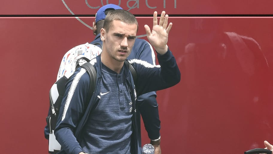 France's forward Antoine Griezmann waves before taking a plane to Russia on June 10, 2018 at the Bron's airport near Lyon, central-eastern France, ahead of the Russia 2018 World Cup. (Photo by PHILIPPE DESMAZES / AFP)        (Photo credit should read PHILIPPE DESMAZES/AFP/Getty Images)
