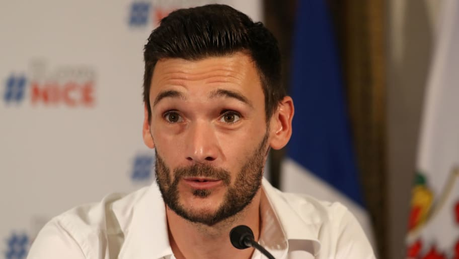 France's goalkeeper Hugo Lloris speaks during a press conference in his home town of Nice, southeastern France, on July 18, 2018 three days after French players won the Russia 2018 World Cup final football match. (Photo by Valery HACHE / AFP)        (Photo credit should read VALERY HACHE/AFP/Getty Images)