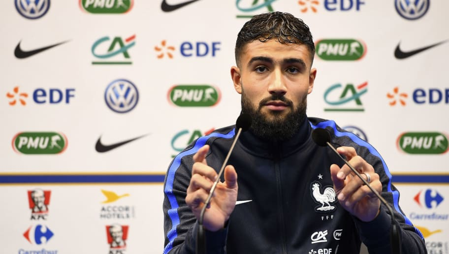 France's forward Nabil Fekir holds a press conference in Clairefontaine-en-Yvelines near Paris on October 4, 2016 ahead of the 2018 FIFA World Cup football matches against Bulgaria on October 7 and the Netherlands on October 10.  / AFP / FRANCK FIFE        (Photo credit should read FRANCK FIFE/AFP/Getty Images)