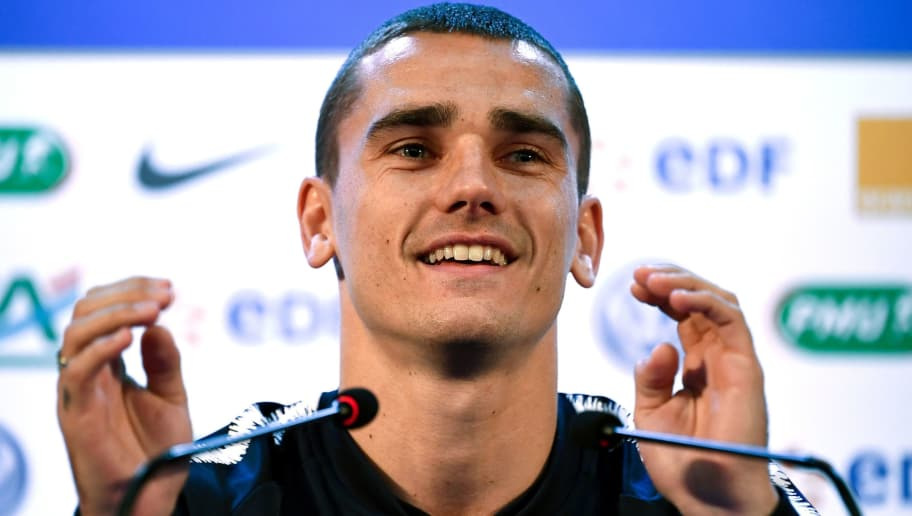 France's forward Antoine Griezmann smiles as he speaks during a press conference at the press center in Istra, western Moscow on June 12, 2018, ahead of the Russia 2018 World Cup football tournament. (Photo by FRANCK FIFE / AFP)        (Photo credit should read FRANCK FIFE/AFP/Getty Images)