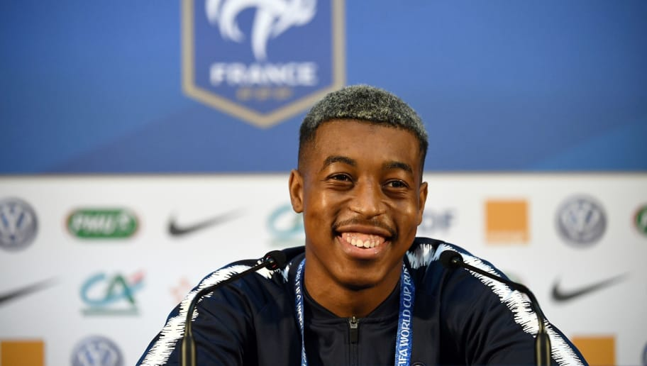 France's defender Presnel Kimpembe addresses a press conference at the press center in Istra, west of Moscow on June 13, 2018, ahead of the Russia 2018 World Cup football tournament. (Photo by FRANCK FIFE / AFP)        (Photo credit should read FRANCK FIFE/AFP/Getty Images)