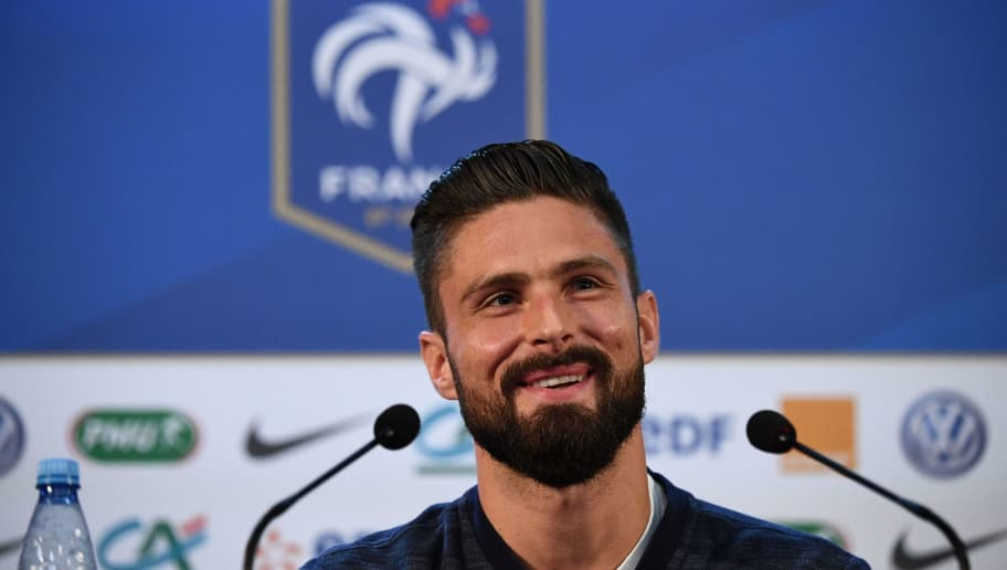 France's forward Olivier Giroud smiles as he gives a press conference at the press centre in Istra, west of Moscow on July 8, 2018, during the Russia 2018 World Cup football tournament. (Photo by FRANCK FIFE / AFP)        (Photo credit should read FRANCK FIFE/AFP/Getty Images)