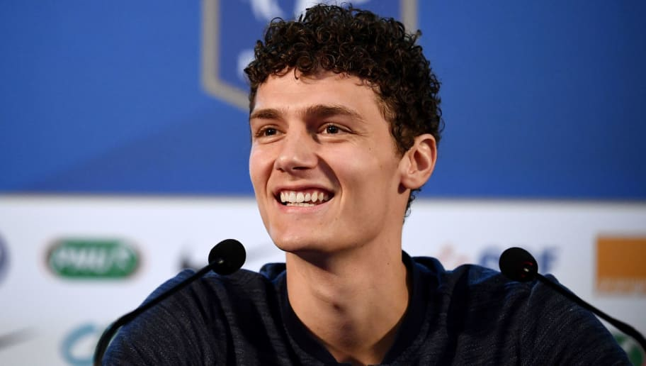 France's defender Benjamin Pavard smiles as he gives a press conference at the press centre in Istra, west of Moscow on July 8, 2018, ahead of their Russia 2018 World Cup semi-final football match against Belgium. (Photo by FRANCK FIFE / AFP)        (Photo credit should read FRANCK FIFE/AFP/Getty Images)