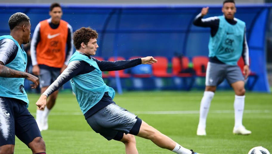 France's defender Benjamin Pavard (C) shots during a training session at the Glebovets stadium in Istra, on June 12, 2018, ahead of the Russia 2018 World Cup football tournament. (Photo by FRANCK FIFE / AFP)        (Photo credit should read FRANCK FIFE/AFP/Getty Images)
